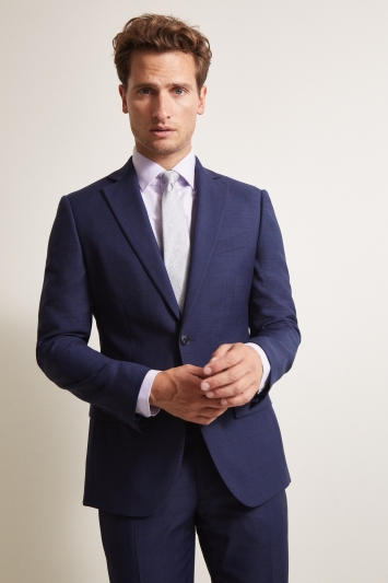 Moss 1851 Tailored Fit Navy Prince Wales Check Jacket
