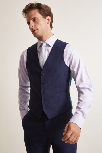 Moss 1851 Tailored Fit Navy Prince of Wales Check Waistcoat
