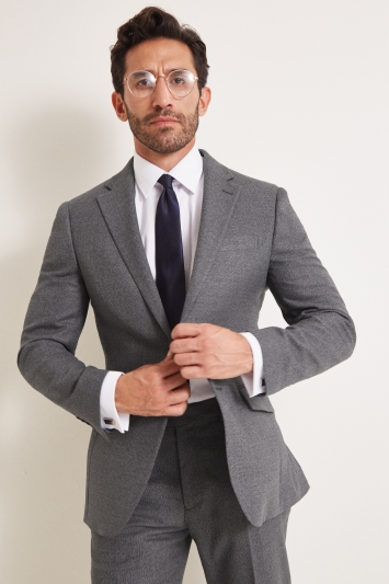 Moss Esq. Regular Fit Grey Textured Jacket