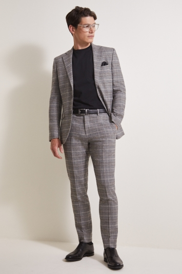 Moss 1851 Tailored Fit Grey/Tan Check Jacket