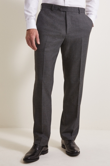 Moss Esq. Regular Fit Grey Birdseye Trouser