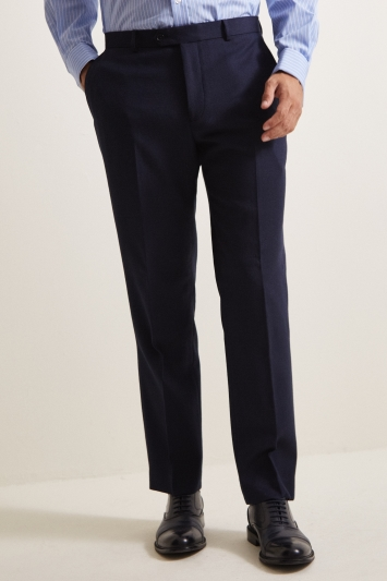 Moss Esq. Regular Fit Blue Birdseye Trouser