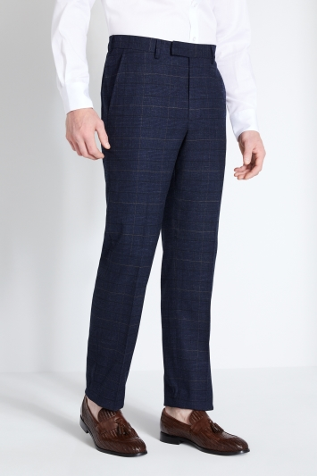 Moss 1851 Regular Fit Navy Black Check Trouser