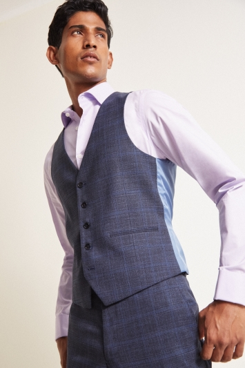 Moss London Slim Fit Indigo Blue Check Waistcoat