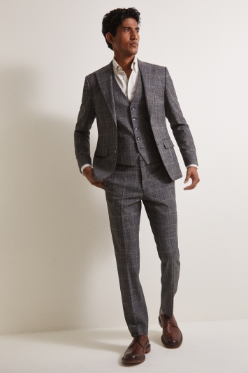 Moss London Slim Fit Charcoal Tan Check Jacket