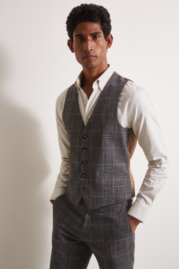 Moss London Slim Fit Charcoal TanCheck Waistcoat