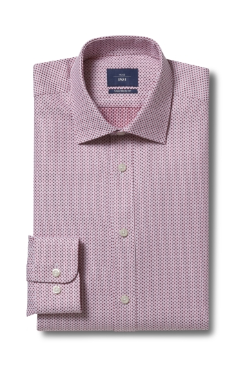 Moss 1851 Tailored Fit Pink Single Cuff Spot Dobby Shirt