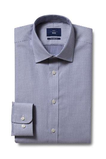 Moss 1851 Tailored Fit Navy Single Cuff Spot Dobby Shirt