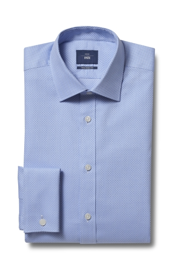 Moss 1851 Tailored Fit Sky Double Cuff Spot Dobby Shirt
