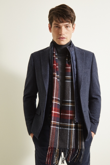 Moss London Slim Fit Blue Houndstooth with Gilet Insert Jacket