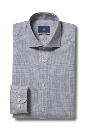 Moss 1851 Tailored Fit Grey Single Cuff Check Shirt