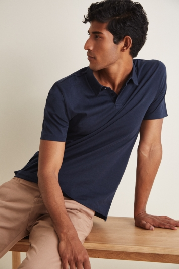 Moss London Navy Short-Sleeve Jersey Polo Shirt
