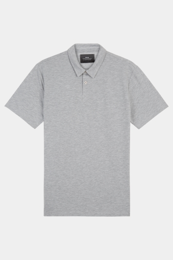 Moss London Grey Marl Short-Sleeve Jersey Polo Shirt