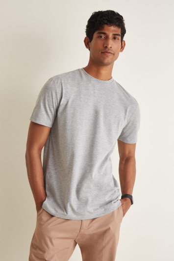 Moss London Grey Marl Short-Sleeve Crew-Neck T-Shirt