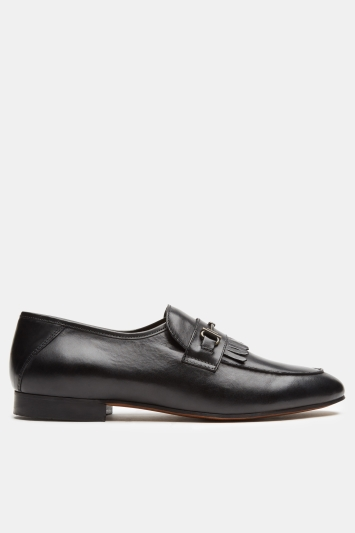 H by Hudson Chichester Black Calf Fringed Loafer