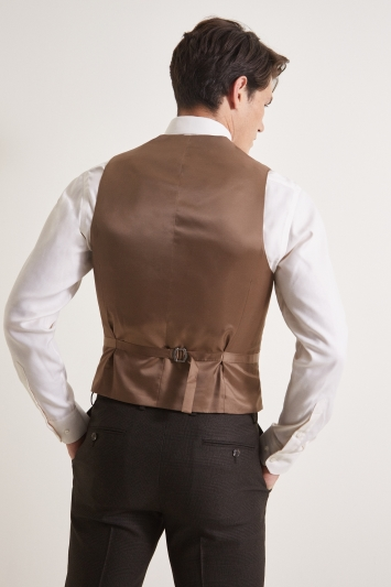 Moss 1851 Tailored Fit Brown Grid Check Waistcoat