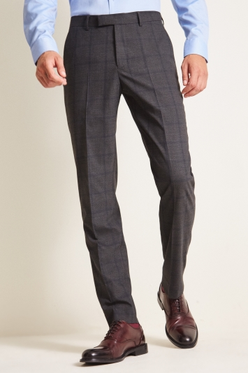 Moss 1851 Tailored Fit Charcoal Windowpane Check Trouser