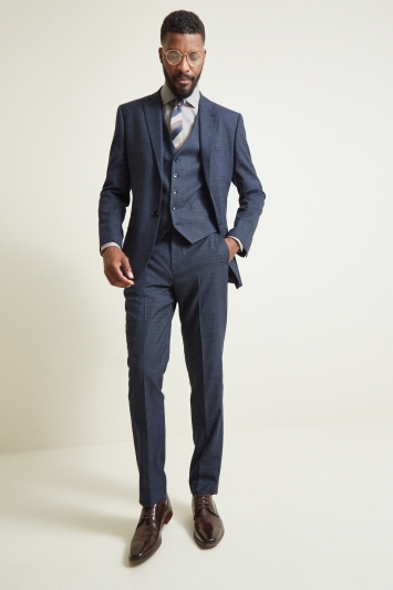 Moss 1851 Tailored Fit Navy Puppytooth Jacket
