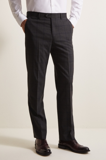 Moss Esq. Regular Fit Charcoal Windowpane Check Trouser