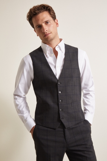 Moss Esq. Regular Fit Charcoal Windowpane Check Waistcoat
