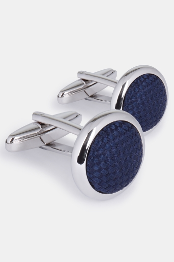Moss 1851 Silver Circle with Navy Silk Cufflink