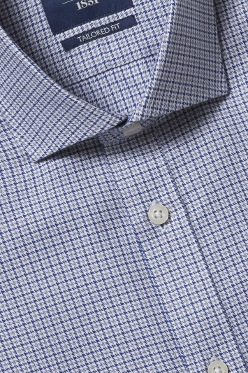 Moss 1851 Tailored Fit Grey Single Cuff Puppytooth Shirt