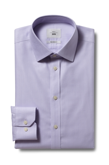 Moss 1851 Tailored Fit Lilac Single Cuff Herringbone Stripe Zero Iron Shirt