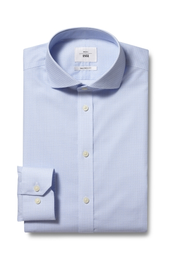 Moss 1851 Tailored Fit Sky Single Cuff Geo Print Zero Iron Shirt