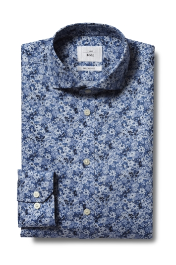 Moss 1851 Tailored Fit Navy Single Cuff Floral Print Zero Iron Shirt