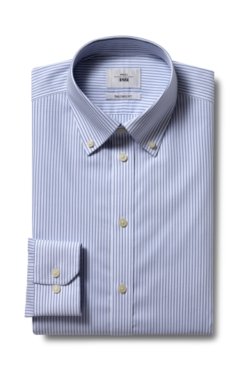 Moss 1851 Tailored Fit Sky Single Cuff Oxford Stripe Zero Iron Shirt