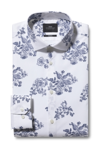 Moss London Skinny Fit Navy Single Cuff Floral Print Shirt