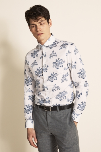 Moss London Slim Fit Navy Single Cuff Floral Print Shirt