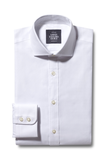 Savoy Taylors Guild Regular Fit White Single Cuff Dobby Shirt