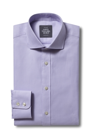 Savoy Taylors Guild Regular Fit Lillac Single Cuff Dobby Shirt