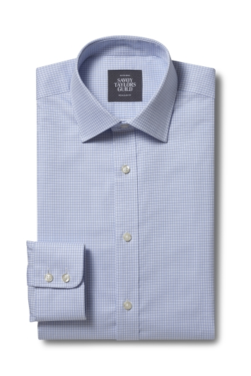 Savoy Taylors Guild Regular Fit Sky Single Cuff Check Shirt