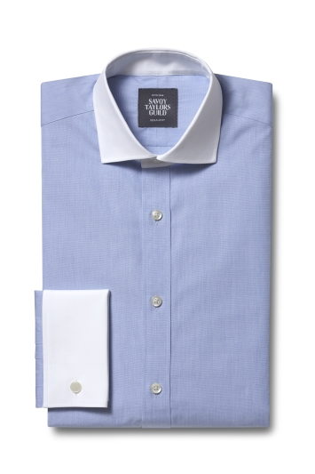 Savoy Taylors Guild Regular Fit Sky Double Cuff Contrast Collar Shirt