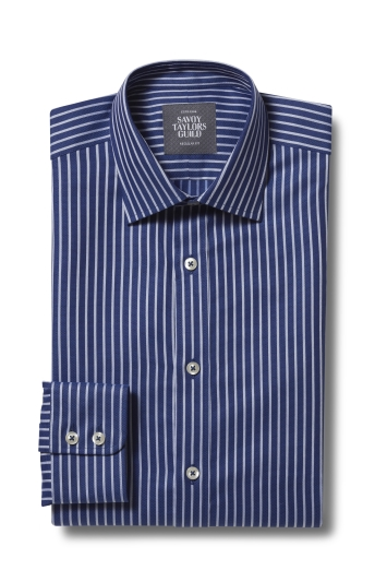 Savoy Taylors Guild Regular Fit Navy Single Cuff Stripe Shirt