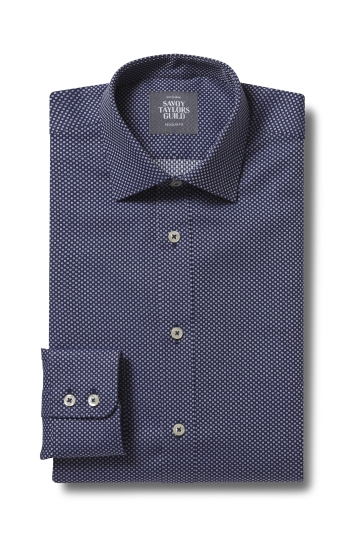 Savoy Taylors Guild Regular Fit Navy Single Cuff Dobby Shirt