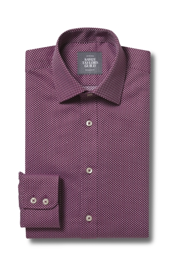 Savoy Taylors Guild Regular Fit Berry Single Cuff Dobby Shirt