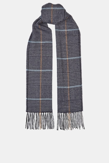 Moss 1851 Charcoal Prince of Wales Check with Sky & Fawn Windowpane Scarf