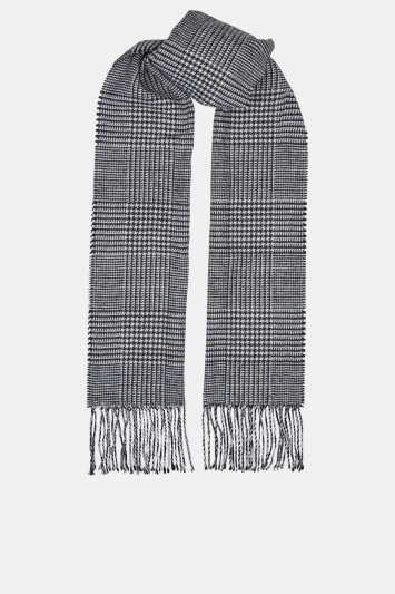 Moss 1851 Black & White Prince of Wales Check Scarf