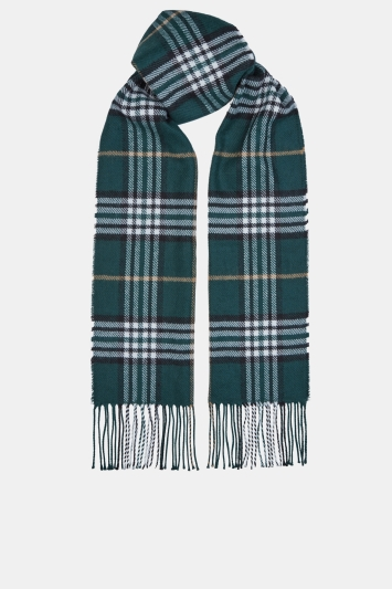 Moss 1851 Green, Charcoal & Camel Plaid Check Scarf
