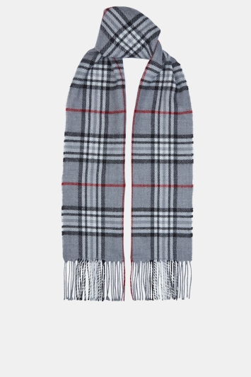 Moss 1851 Grey, Charcoal & Red Plaid Check Scarf