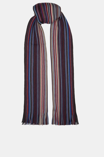 Moss 1851 Blue, Red & Grey Stripe Knitted Raschel Scarf