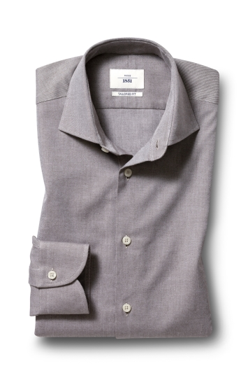 Moss 1851 Tailored Fit Beige Single Cuff Brushed Twill Shirt