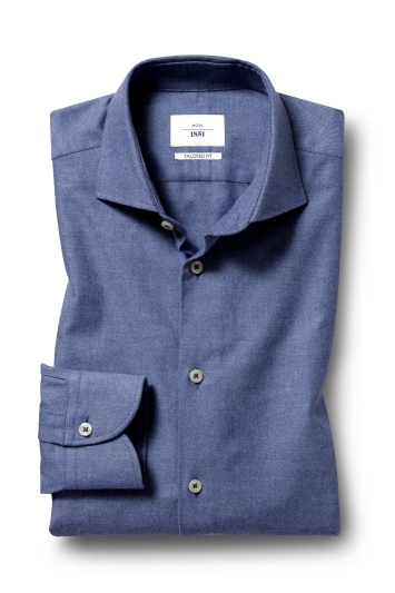 Moss 1851 Tailored Fit Navy Single Cuff Brushed Twill Shirt
