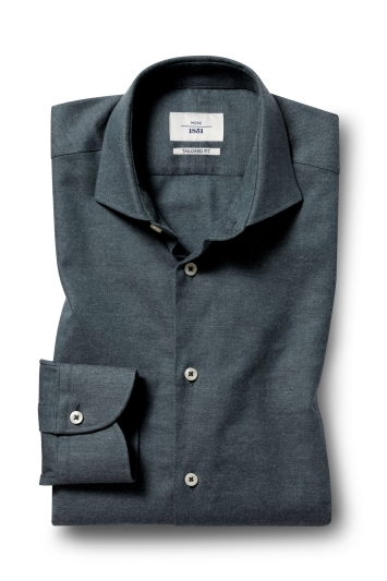 Moss 1851 Tailored Fit Green Single Cuff Brushed Twill Shirt