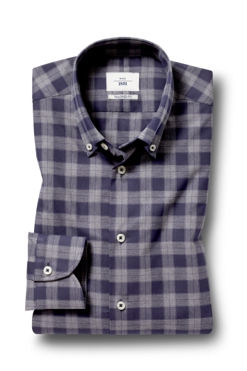 Moss 1851 Tailored Fit Charcoal Single Cuff Check Shirt