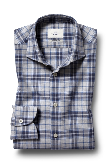 Moss 1851 Tailored Fit Blue Single Cuff Check Shirt