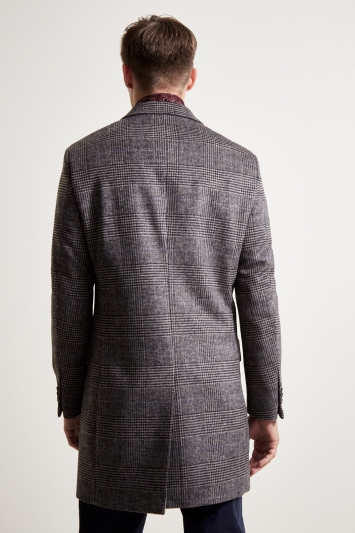Moss 1851 Tailored Fit Grey Check Double Breasted Overcoat